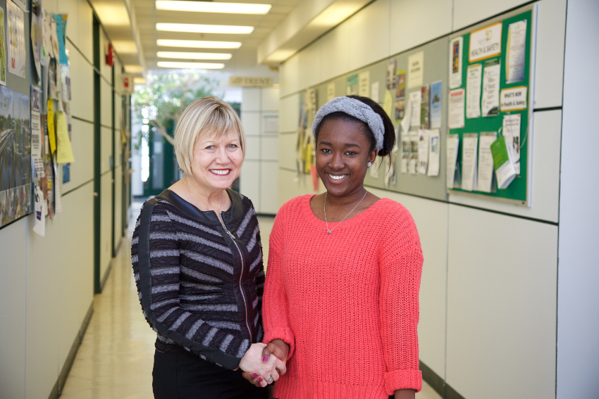 Janice Matthews, Parking Manager (on left) Dorcas Mensah, 2nd year BSc student, Board Representative (on right)