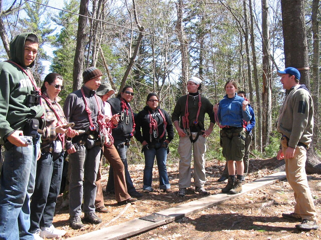 Picture of a group of people wearing harnesses while participating in an activity