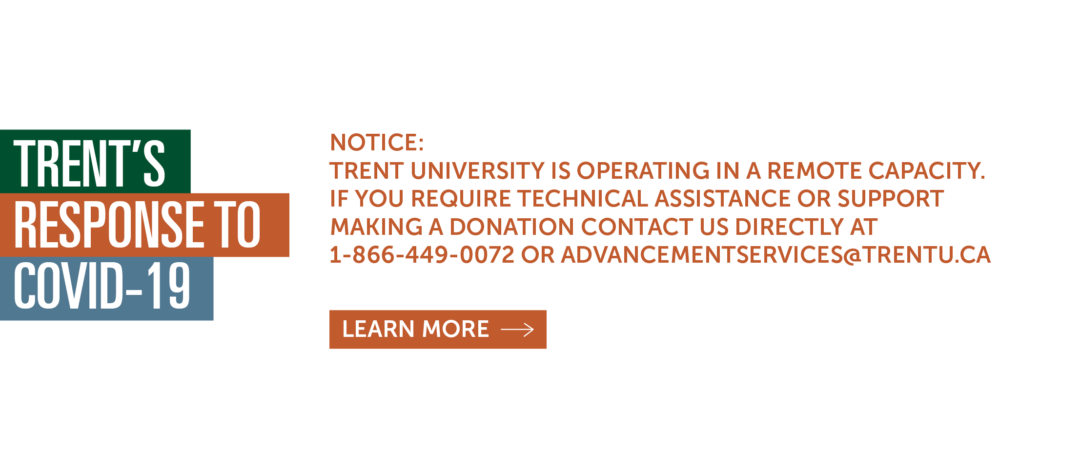 Notice: Trent University is operating in a remote capacity. If you require technical assistance or support making a donation contact us directly at 1-866-449-0072 or advancementservices@trentu.ca. Learn more