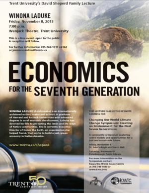 Winona Laduke lecture on Economics For The Seventh Generation