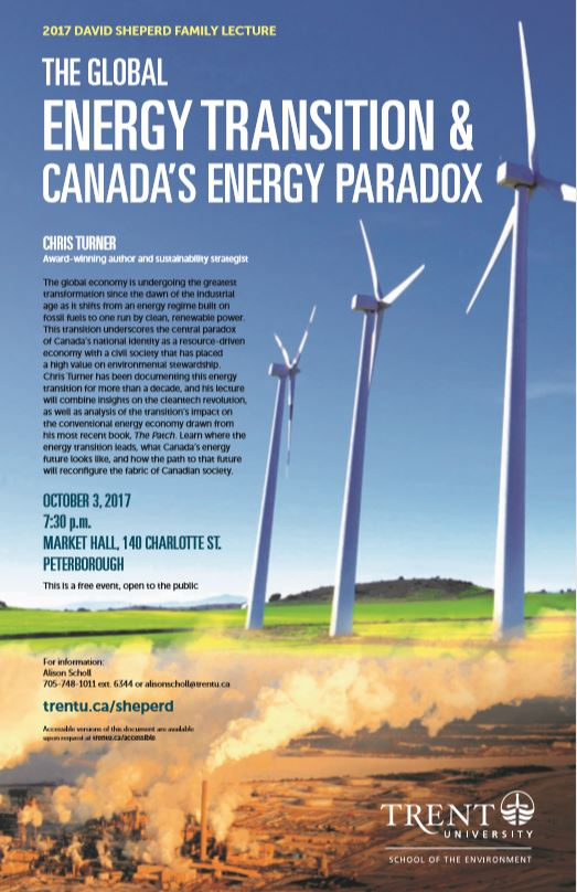 The global energy transition and Canada's energy paradox - Sheperd lecture topic 2017
