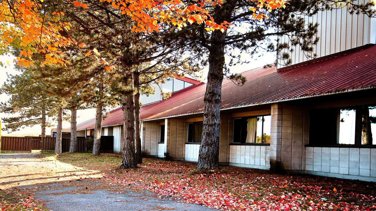 Otonabee College in the fall with crimson trees in front