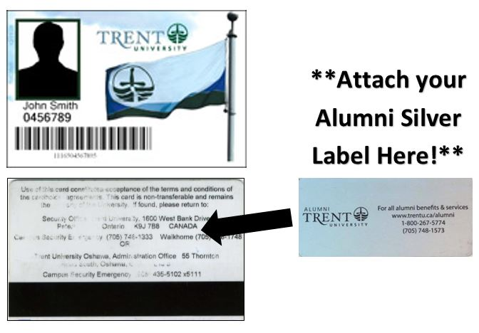 Front and back of a generic Trent Student card and where to put Alumni sticker