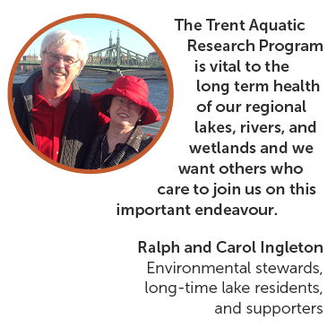 The Trent Aquatic Research Program is vital to the health of our regional lakes, rivers and wetlands and we want others who care to join us on this endeavour. Ralph and Carol Ingleton, environmental stewards, longtime lake residents, and supporters