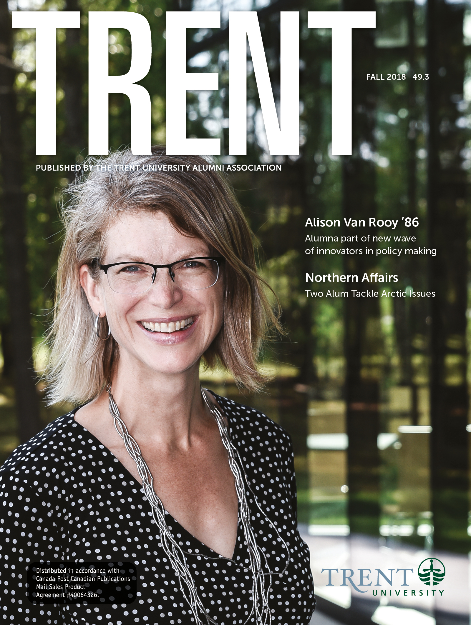 Trent Magazine Cover featuring Alison Van Rooy '86