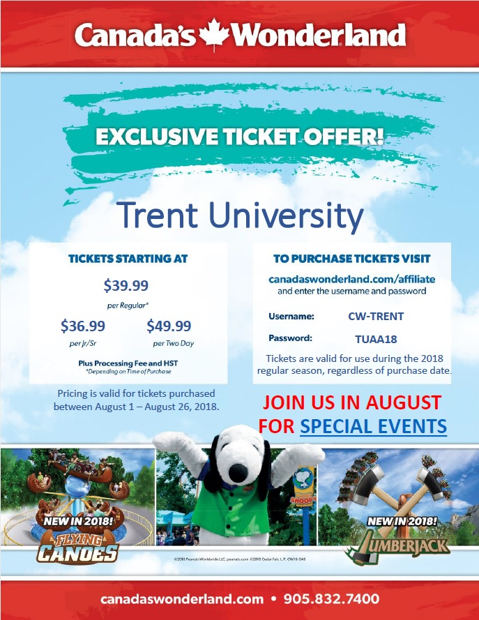 Canada's Wonderland poster discounted tickets 2018 Trent