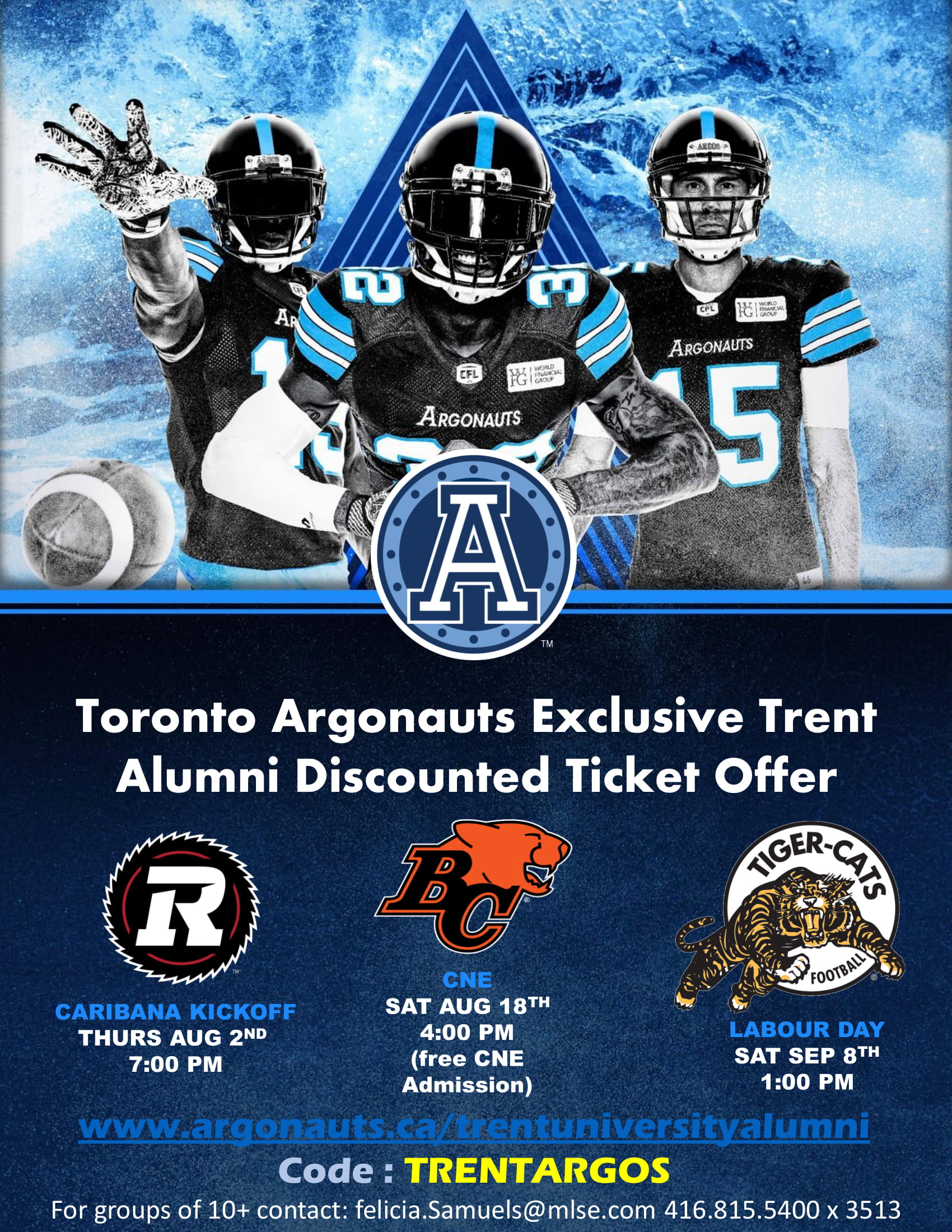 Use Promo Code: TRENTARGOS Toronto Argonauts Discounted Ticket Poster For  Trent U. Alumni 2018