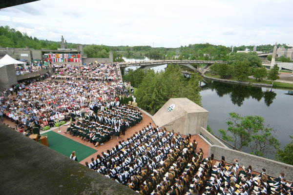aerial shot of Trent University Convocation on the Bata Library Podium