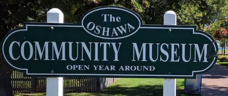 image of oshawa community museum sign at the museum