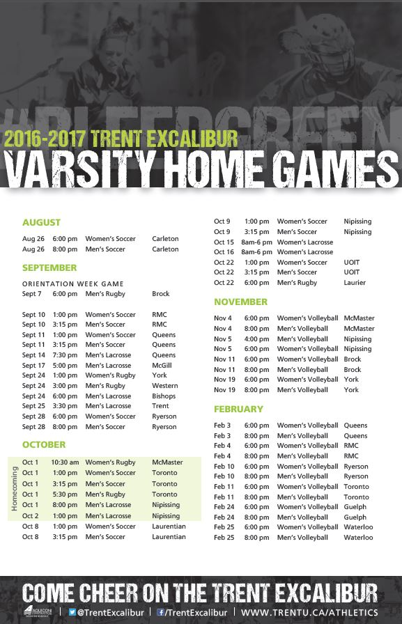 Varsity Home Games schedule
