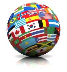 Globe with Flags of the World on it