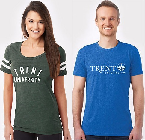 Girl wearing green Trent T-shirt and boy wearing blue Trent T-shirt